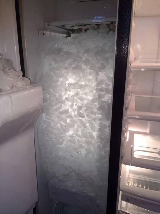 This is what happens when you take the ice tray out of a freezer with an automatic ice maker