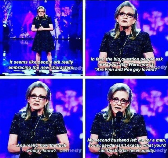 Carrie Fisher asked about Finn and Poe