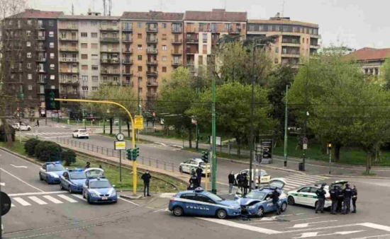 Two police cars managed to crash into each other in the currently empty streets of Milan