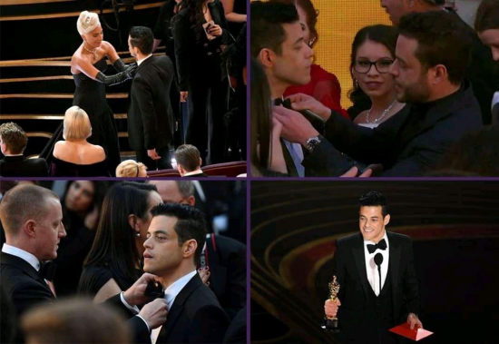 Rami Malek's bow tie on Oscars is an ultimate metaphor for life: everyone tries to fix it but somehow it still manages to stay fucked up