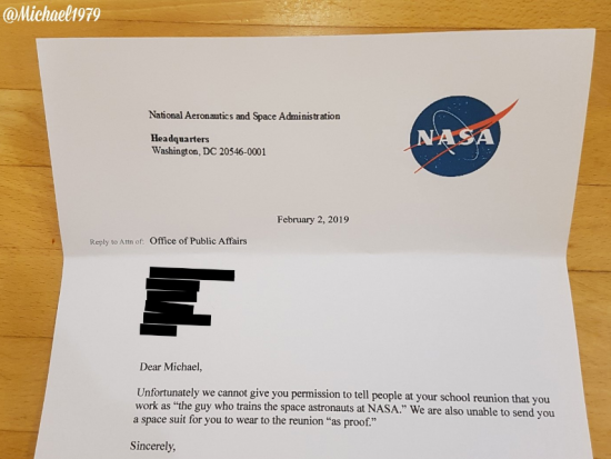 Michael gets declined by NASA :(